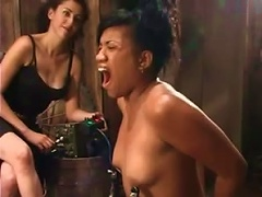 Bound Ebony Minx Gets Her  Rammed With Toys