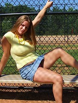 Cute college fatty flashes pussy at baseball field