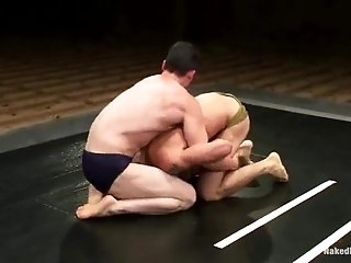 Two Sexy Hunks Struggle On A Ring And Make Gay Love In The Shower
