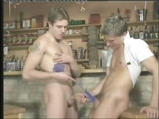 Nasty Queer Gets His Ass Toyed, Spanked And Fucked In A Bar
