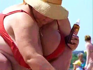 Russian Bbw Mature Big Boobs On Beach! Amateur!