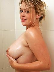 Brook in her blue bikini playing with custard