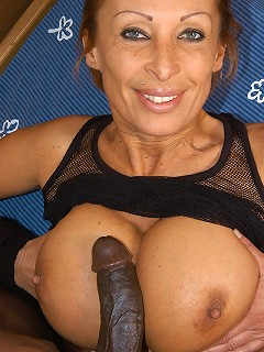 Older slut with enhanced tits gets assfucked!