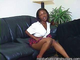 Ebony Schoolgirl Turns Into A Hot Masturbation