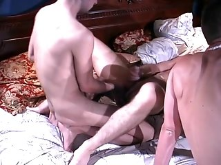 Gay Bear Enjoys Banging With Three Dudes In A Bedroom