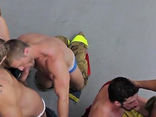 Orgy With Muscular Firefighter Colby Jansen