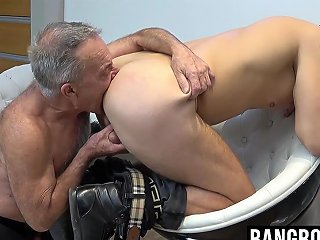 Old Dude Gets His Hands On A Young Mans Juicy Fat Meat Pole