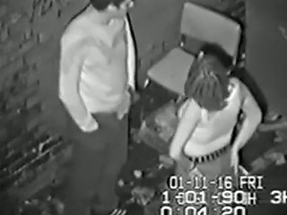 Security Cam Captures A Partyslut Fucking Her One Night Stand In An Alley