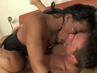 Busty Black Tranny In Fishnets Ass Fucks Her Boy In Sideways Pose Hard