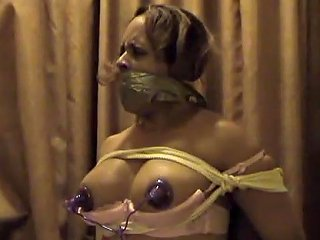 Ebony Woman Bound And Gagged For Electro Stimolation