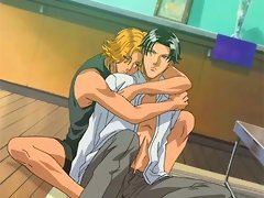 Anime gay lovers touching cocks and kissing on the floor