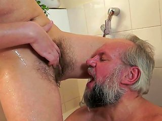 Gorgeous Hadjara Licks A Old Man's Ass And Drinks His Piss