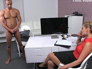 Super Hot Blonde In Tan Stockings Auditions Tony Upornia Com