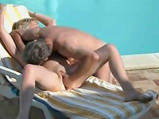 Spying Mummy And Daddy Having Fun Near Swimming Pool