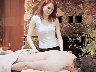 Amateur Redhead Gives A Massage And Rides His Dick