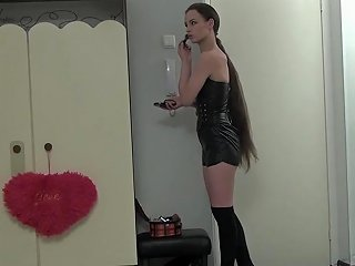 Hot Long Haired Beauty Fucks Her Muff With Her Fingers