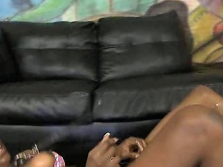 Leashed Ebony Honey Face Fucked On Floor By White Dick