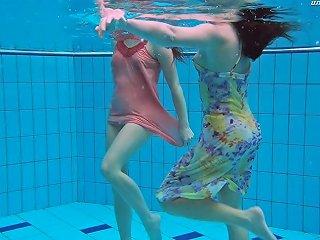 Two Foxy Lassies Liza And Alla Fool Around In The Swimming Pool