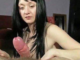 Girl With Long Black Hair Giving Handjob