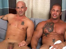 Muscle hunk Matthew Rush have sex with mature gay man on the sofa