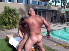 Two older muscle studs fucking outdoors