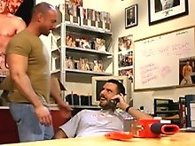 Set in a porn studio, well hung Tom Vacarro takes a phone call from a customer that quickly deteriorates into filthy phone sex. Eric Evans comes in fr