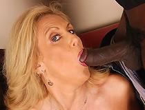 Blond Cougar MILF in interracial DP threesome