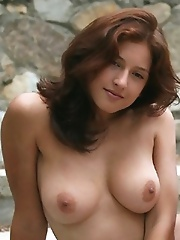 Hot and sexy brunette Olja whows her completely shaved pussy