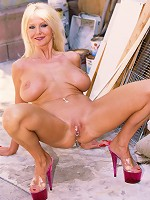 Busty blonde MILFs clit jewelry rattles as she gets her cunt banged!