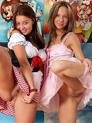 Two lesbian girlies toying pussy