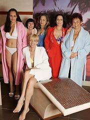 Mature women relaxing in a sauna