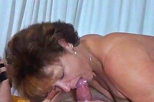 Old Dark Haired Whore Sucks Sweet Cock Of Her Stud In Bedroom