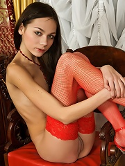 Teen in red stockings
