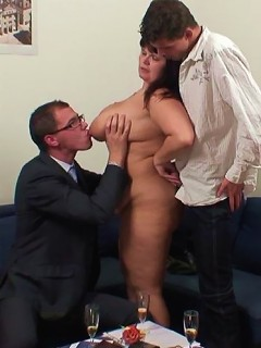 A threesome featuring a fat mature slut taking two cocks and two loads of hot jizz
