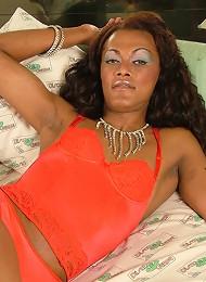 Mulatto dickgirl shows her s...