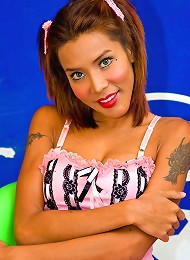 Innocent looking dick-girl g...