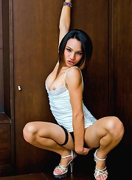 Athletic t-girl parades her ...