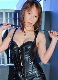 Japanese ladyboy Mistress Akane cracks the whip on her submissive slave