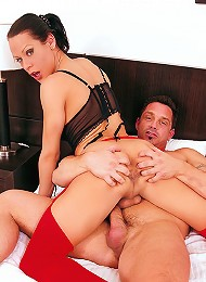 Red nylon clad shemale hottie Tamy in action