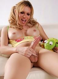 Cute TS Jesse Masturbating Her Big Fat Cock