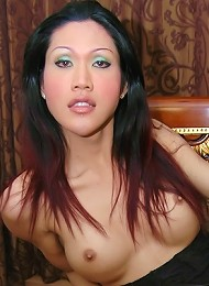 Big titted ladyboy shows off penis