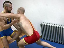Hairy muscle wrestlers spank and fuck