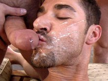 Hairy muscle men have some nasty groupsex outdoors